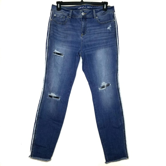 Inc Denim Denim - Inc Denim Distressed Stretch Skinny Jean Size 14